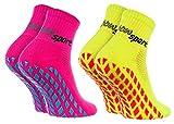 Rainbow Socks - Femme Homme Chaussettes Antidérapantes de Sport - 2 paires - Jaune Rose - Taille 36-38