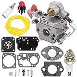 Fuel Li Carburetor + RB-168 Carb Repair Rebuild Kit for Zama C1M-W44 Poulan PP133 Pro PP333 PP338PT Craftsman 358791170 358791140 358795920 Trimmer 33cc Carb 545189502 545008042