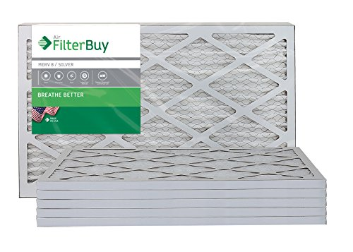 FilterBuy 16x25x1 MERV 8 Pleated AC Furnace Air Filter, (Pack of 6 Filters), 16x25x1  Silver