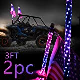 DIBMS 3ft LED Whip Lights with Flag Pole Remote Control 360° Spiral LED RGB Chase Dancing Light Offroad Warning Lighted Antenna Whips for UTV ATV Off-Road Truck Sand Buggy Dune RZR Can-am Boat 2PCS