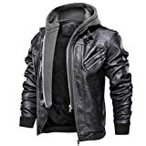 FEDTOSING Men's Vintage Biker Faux Leather Jacket Retro Zip-UP Stand Collar Motorcycle Jackets with Removable Hood (Black-7 L)
