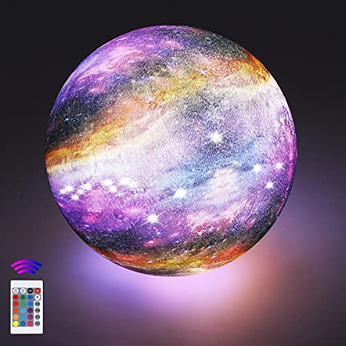 18cm Mondlampe mit Fernbedienung,OxyLED Sternenhimmel Dekoleuchte 3D Mond Kunst LED RGB Mondlampe...