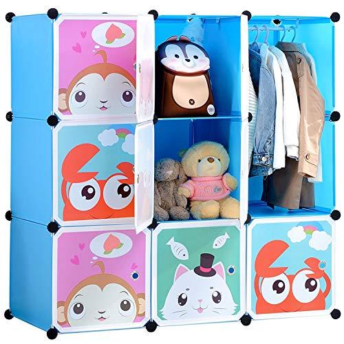 BRIAN & DANY Armadio Modulare Bambini, Portatile Guardaroba, Armadietto in Moduli Plastici, Blu, 110...