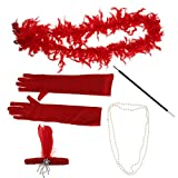 Fenteer Boa Plumes /Bandeau /Collier /Gants /Porte-Cigare Set de Déguisement de Fête Charleston Années 20 - Rouge