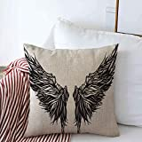 Brecoy Throw Pillow Case Eagle Tattoo Magnificent Wingspan Fantasy Demon Monster Wing Dark Angel Abstract Alchemy Design Farmhouse Square Cushion Pillows Covers 16'x16' for Home Decorations 18X18in