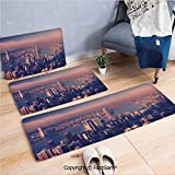 FashSam 3 Piece Flannel Bath Carpet Non Slip Dreamy View of Chinese City Hong Kong Urban Scene Concept Victoria Harbor Front Door Mats Rugs for Home(W15.7xL23.6 by W19.6xL31.5 by W19.6xL59)