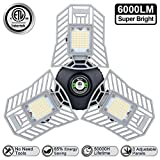 Three Leaf Garage Light 6000 Lm Deformable LED Garage Ceiling Lights 60W CRI 80 Led Workshop Lights for Garage Adjustable Panels Tribright Led Garage Lighting Basement Garage Lights(NO Sensor)