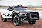 First Drive Police Cop Car SUV 12v Kids Cars - Dual Motor Electric Power Ride On Car with Remote, MP3, Aux Cord, Led Headlights, and Premium Wheels (Mustang)