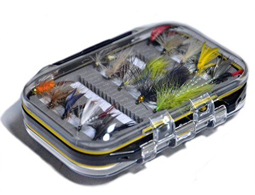 Outdoor Planet Double Side Waterproof Pocketed Fly Box + Assorted Trout Fly Fishing Lure Pack of 15...