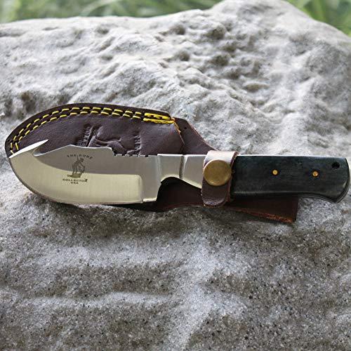 "Bone Collector 7.5"" Gut Hook Blade Black Bone Handle Hunting Knife with Leather Sheath (Flat Head)"