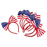 Patriotic American Flag Bow Headbands for Election Day, July 4th (6-Pack)