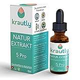 krautly Natürliche Premium Bio Öl Tropfen 5 Pro   100% Vegan   10ml   Laborgeprüft & Zertifiziert   Hochwertige Premium Zutaten   Leckerer Geschmack   5% Terpene Extrakt   Natur-Öl Aus der Schweiz