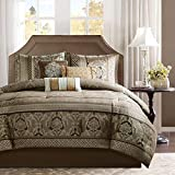 Madison Park Cozy Comforter Set-Luxurious Jaquard Traditional Damask Design All Season Down Alternative Bedding with Matching Shams, Decorative Pillow, Cal King(104'x92'), Bellagio Brown/Gold 7 Piece