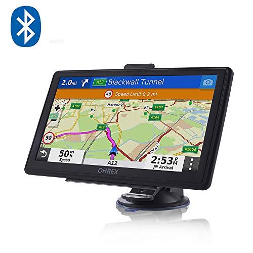 OHREX Sat Nav, with Bluetooth Handsfree Calling, GPS Navigation for Cars Trucks Lorries HGV Motorhomes Caravan, 2021 UK Europe Maps(Free Lifetime Update), Lane Assist POI, 7 inch