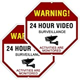 ATBAY Video Surveillance Sign Aluminum Waterproof Indoor Outdoor 24 Hours Security Alert Signs 12'x12' Octagon,(Pack of 2)