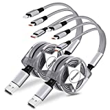 Amuvec Câble Multi USB, 2Paquet/ 3 en 1 Rétractable Multi Chargeur USB...