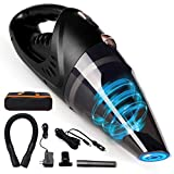 GNG Hand-Held Vacuum Cleaner, 12v Portable Cordless Vacuum with Car & Wall Rechargeable Lithium-ion, Black Detailing Vacuum Cleaners for Wet and Dry Furniture, Dust Buster, Carpets, Floors, Vehicles