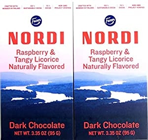 2 bars of Raspberry & Tangy Licorice Dark Chocolate Product of Finland 100% sustainable ingredients Non-GMO