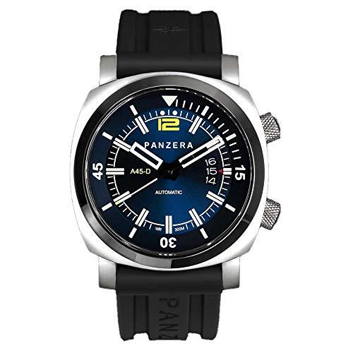 Panzera Aquamarine Pro Diver Infinity Blue Edge Automatik Stahl Blau Schwarz Diver Gelb Datum Silikon Uhr Herren