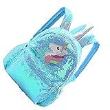 SOIMISS Mochila Unicornio para Niñas Mochila Escolar Brillante con Lentejuelas de Gran Capacidad Mochila Escolar de Viaje de Moda Metálica para Niñas Estudiantes (Verde)