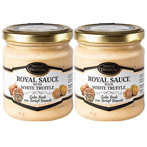 Trufa blanca Tuber borchii y Tuber MAGNATUM PICO 👑 Royal 👑 Salsa de comida gourmet Pasta con crema y queso, ideal para carne, pan a la parrilla, tortillas, pasta, risotto, sushi (2 x 80g)