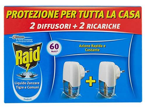 Raid Liquido Elettrico Antizanzare Tigre e Comuni Pacco Promo, Contiene 2 Diffusori e 2 Ricariche,...