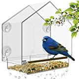 Window Bird Feeder - Large Bird House for Outside. Removable Sliding Tray with Drain Holes. Best for...