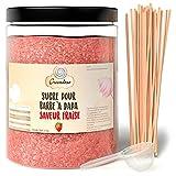 Greendoso-Sucre Barbe à Papa Fraise 1 Kg, Poudre Barbapapa pour Machine + 50 Bâtonnets de 30Cm (Offerts) + 1 Cuillère Mesure
