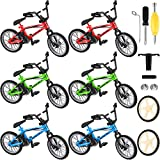 6 Packs Finger Bikes Mini Finger Mountain Bikes with Brake Ropes Finger Bicycle Toy with Replacement Wheels and Tools Boy Toy Creative Game Gifts for Party Favors