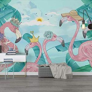 Avikalp Exclusive AWZ0315 3D Wallpaper Home Decor Mural Tropical Plants Flamingo Tv Background Wall Living Room Bedroom HD 3D Wallpaper(518cm x 304cm)
