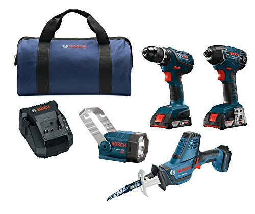 Bosch Power Tools Drill Set - CLPK232A-181 - 18V 4-Tool Combo Kit with 1/2 In. Drill/Driver, 1/4 In. Hex Impact Driver, Compact Reciprocating Saw and Flashlight