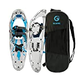 G2 25 Inches Blue Light Weight Snowshoes for Women Men Youth, Set with Tote Bag, Special EVA Padded Ratchet Binding, Heel Lift