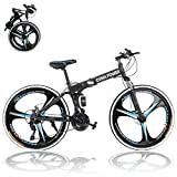 26 inch Adults Folding Mountain Bike for Men & Women High-Carbon Steel Mountain Bike Outdoor Exercise Road Bikes with 21 Speed Dual Disc Brakes Full Suspension Non-Slip (BlackBlue)