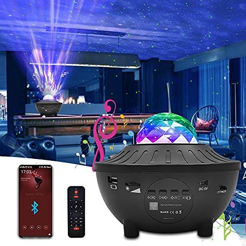 Proiettore Stelle, Newlemo Proiettore Galassia con 10 Colori Dimmerabile, Telecomando, Timer, Altoparlante, Bluetooth - Lampada Proiettore per Bambini e Adulti