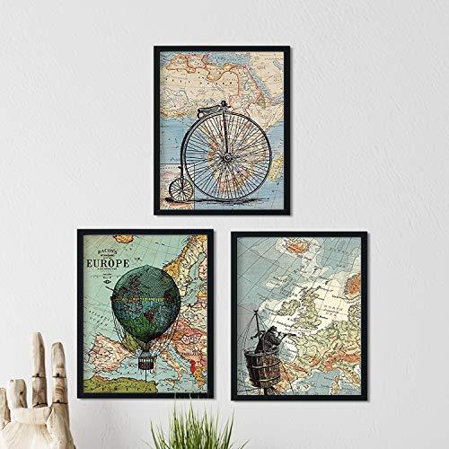 Nacnic ACK de láminas para enmarcar Viajando por EL Mundo. Posters con imágenes de mapas. Tamaño 24x30cm