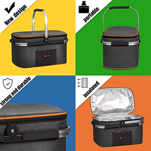 ALLCAMP Insulated Picnic Basket 22L Portable Cooler Bag for Travel, Shopping, Camping, (Black+Orange)