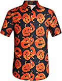 SSLR Men's Fun Pumpkins Button Down Short Sleeve Halloween Shirt (Large, Black(249))