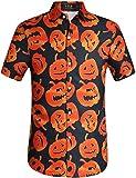 SSLR Men's Fun Pumpkins Button Down Short Sleeve Halloween Shirt (XX-Large, Black(249))