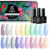 Beetles 20Pcs Gel Nail Polish Kit, with Glossy & Matte Top Coat and Base Coat - Pastel Paradise Girly Colors Collection, Popular Bright Nail Art Solid Sparkle Glitters Colors