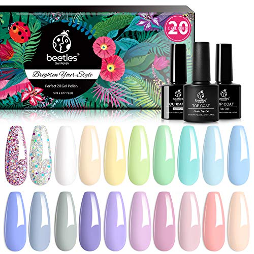 Beetles 23 Pcs Gel Nail Polish Kit, with Glossy & Matte Top Coat and Base Coat - Pastel Paradise Girly Colors Collection, Popular Bright Nail Art Solid Sparkle Glitters Colors