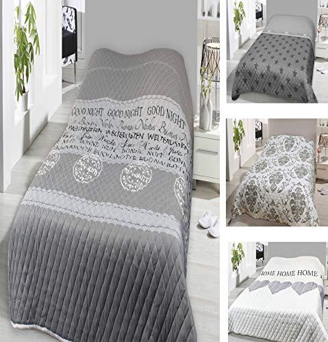 Leonado Vicenti Bettüberwurf 140x210 oder 220x240 Tagesdecke Sofaüberwurf Allzweckdecke wattiert und gesteppt wählbar in modernen Motiven (140 x 210 cm, Grau Good Night)