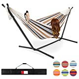 Best Choice Products 2-Person Brazilian-Style Cotton Double Hammock Bed w/Carrying Bag, Steel Stand, Desert Stripes