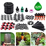 CYEVA 82ft/25M Drip Irrigation Kit with 40Pcs Adjustable Emitters, 2 Different Sprinkler Types, Water-Saving DIY Sprinkler System for Vegetable Garden, Lawn, Pot Plants, Rain Barrel Kit