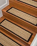 Natural Area Rugs - Seagrass Stair Tread, Beach Collection, Natural Fiber, Handmade & Latex Backed, Espresso 9' x 29' (13 Treads)