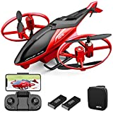4DRC M3 Helicopter Drone with 1080p Camera for Adults and Kids, RC Quadcopter Toys Gifts for Boys Girls with FPV Live Video,3D Flips, Gestures Selfie, Altitude Hold, One Key Start,2 Battery,Red