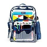 Heavy Duty Clear Bookbag Durable See Through Plastic Transparent Clear School Work Backpack Military Nylon Bottom (Medium, Blue)