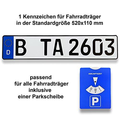 TA TradeArea 1 Fahrradträger Kennzeichen   DIN-Zertifiziert & reflektierend inklusive Einer Parkscheibe