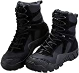 FREE SOLDIER Outdoor Men's Tactical Military Boots Suede Leather Work Boots Combat Hunting Boots (9 M US, Black)