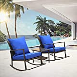 Rattaner Outdoor 3 Piece Wicker Rocking Chair Set Patio Bistro Set Conversation Furniture -2 Rocker Chair and Glass Coffee Side Table- Blue Cushion