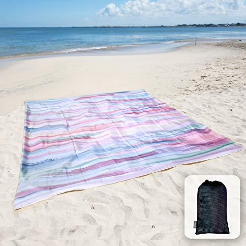 Sunlit Silky Soft Sand Proof Beach Blanket Sand Proof Mat with Corner Pockets and Mesh Bag 6' x 7' for Beach Party, Travel, Camping and Outdoor Music Festival, Watercolor Painting, Macaron Blue